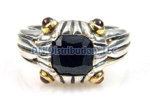 Sterling Silver Onyx Rhodolite Garnet Ring