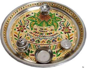 Meenakari Steel Puja Thali