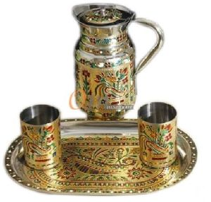 Meenakari Steel Water Jug with Glass