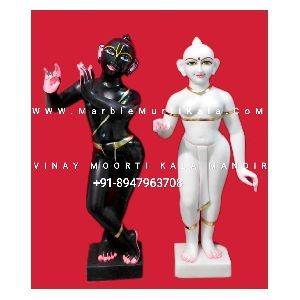 White and Black Iskcon Radha Krishna Marble Statue