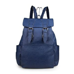 Blue Leather Backpack Bag