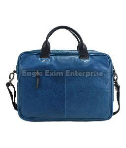 Blue Leather Office Bag