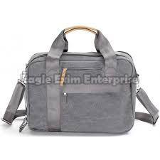 Grey Leather Office Bag