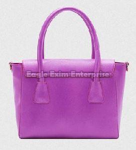 Ladies Purple Leather Handbag