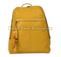 Yellow Leather Backpack Bag