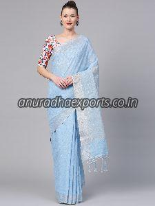 Plain Linen Saree