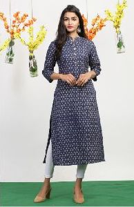 Gold Printed Cotton Kurti