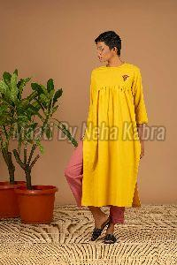 Yellow Plain Kurta