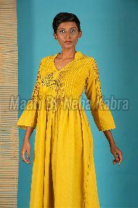 Yellow Pintuck Dress
