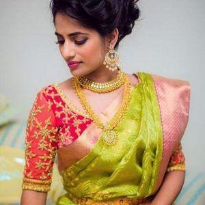 Pink Maggam Saree Blouse