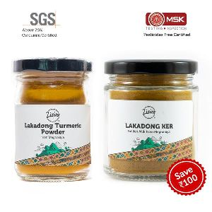 Lakadong Turmeric Powder and Golden Ker Milk Combo Pack