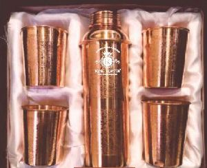 Copper 4 Glass & Bottle Set