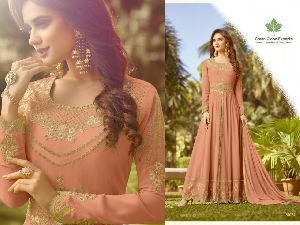 Embroidered Georgette Gown