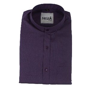 Mens Purple Chinese Collar Shirt