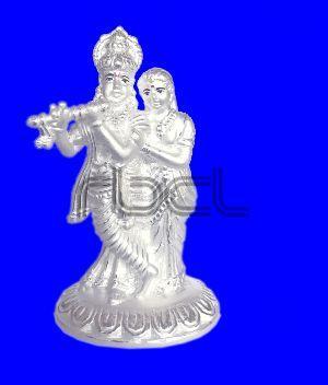 1027 Silver Radha Krishna Statue