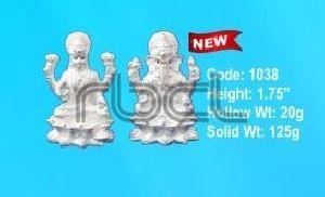 1038 Sterling Silver Laxmi Ganesh Statue