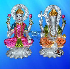 1105 Sterling Silver Laxmi Ganesh Statue
