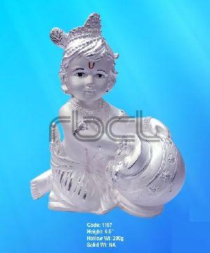 1107 Sterling Silver Makhan Chor Statue