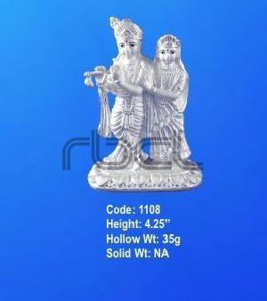 1108 Sterling Silver Radha Krishna Statue