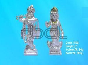 1109 Sterling Silver Radha Krishna Statue