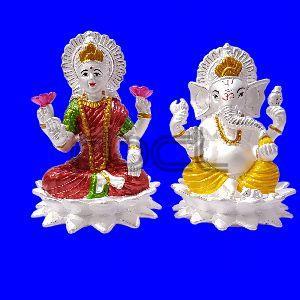115 Silver Laxmi Ganesh Statue