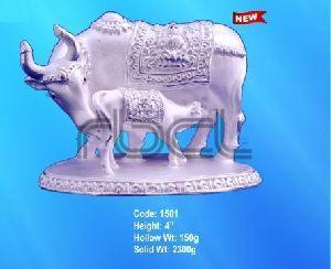 1501 Sterling Silver Cow Calf Statue