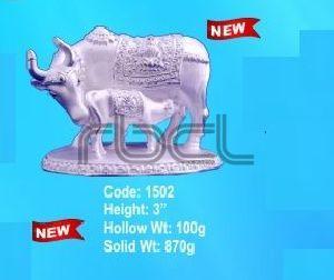 1502 Sterling Silver Cow Calf Statue
