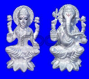 200 Silver Laxmi Ganesh Statue