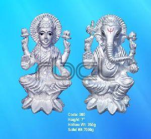 200 Sterling Silver Laxmi Ganesh Statue