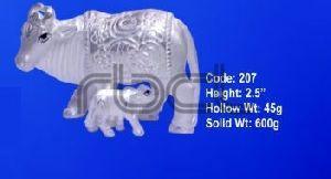 207 Sterling Silver Cow Calf Statue