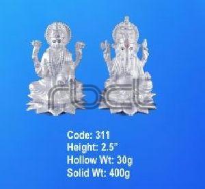 311 Sterling Silver Laxmi Ganesh Statue