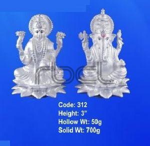 312 Sterling Silver Laxmi Ganesh Statue