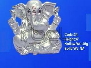 34 Sterling Silver Ganesh Statue