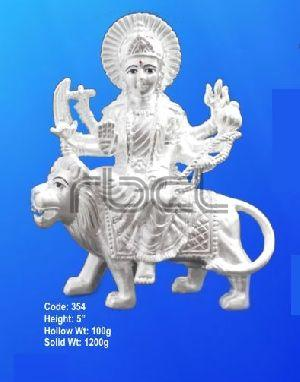 354 Sterling Silver Maa Durga Statue