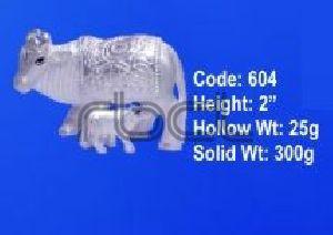 604 Sterling Silver Cow Calf Statue