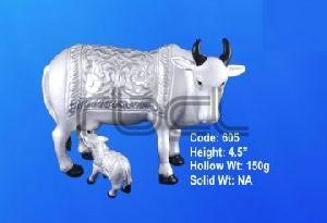 605 Sterling Silver Cow Calf Statue
