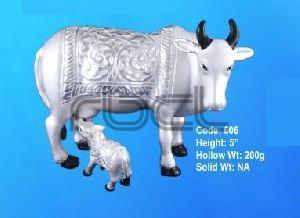 606 Sterling Silver Cow Calf Statue
