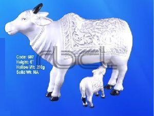 607 Sterling Silver Cow Calf Statue