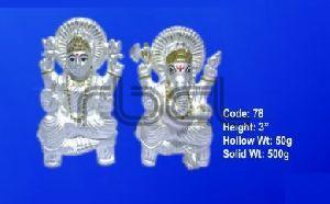 78 Sterling Silver Laxmi Ganesh Statue