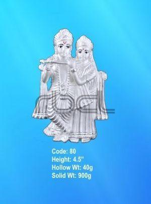 80 Sterling Silver Radha Krishna Statue
