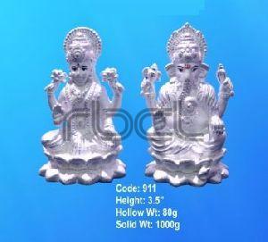 911 Sterling Silver Laxmi Ganesh Statue