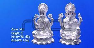 912 Sterling Silver Laxmi Ganesh Statue