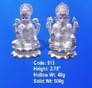 913 Sterling Silver Laxmi Ganesh Statue