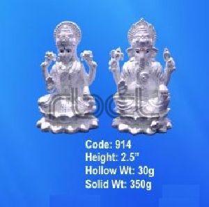 914 Sterling Silver Laxmi Ganesh Statue