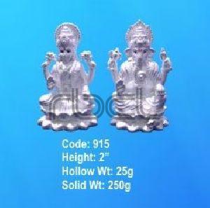 915 Sterling Silver Laxmi Ganesh Statue