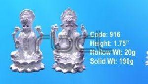 916 Sterling Silver Laxmi Ganesh Statue