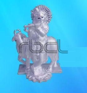 999 Silver Cow Krishna Statue