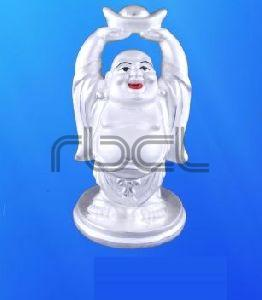 999 Silver Laughing Buddha Statue