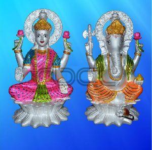 999 Silver Laxmi Ganesh Statue