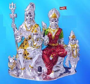 999 Silver Shiv Parivar Statue